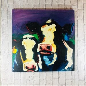 Antique Hand Painted Abstract Canvas 2 Cow Faces